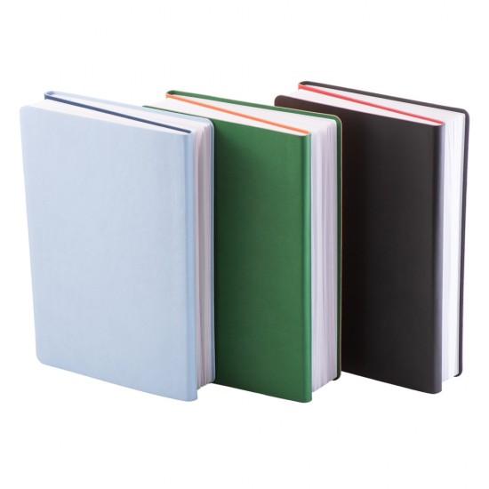 Notes Twin, piele, A5, liniat + matematica, albastru/bleu