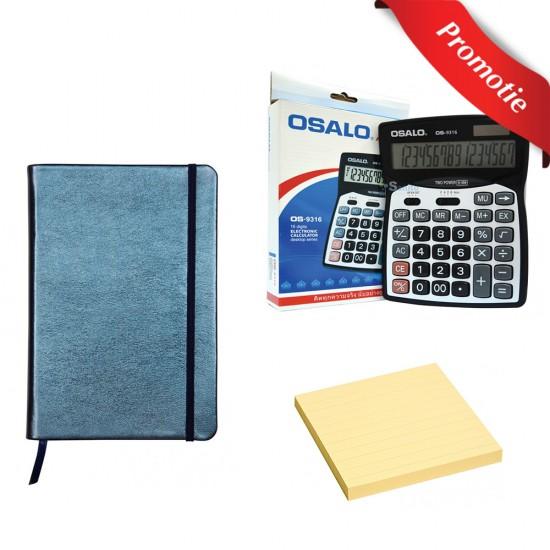 Pachet 1 x Notebook, 1 x Notes Adezive si 1 x Calculator birou