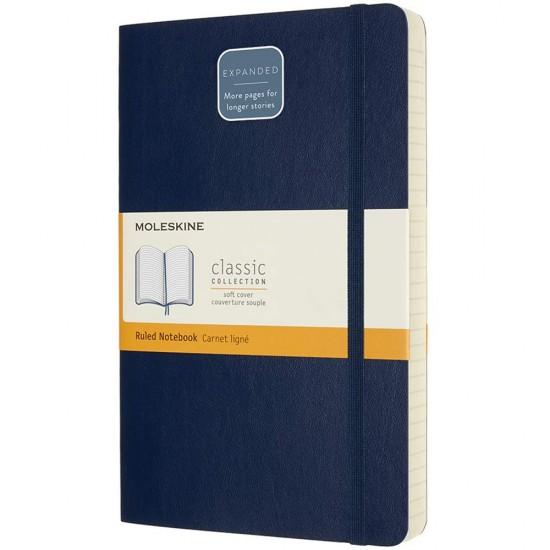 Agenda Moleskine Expanded Large Ruled Sapphire Blue, 21.1 x 21.3 cm, dictando, 400 file