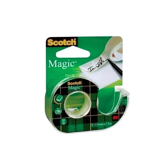 Banda adeziva Scotch Magic, 19 mm x 7.5 m, cu dispenser