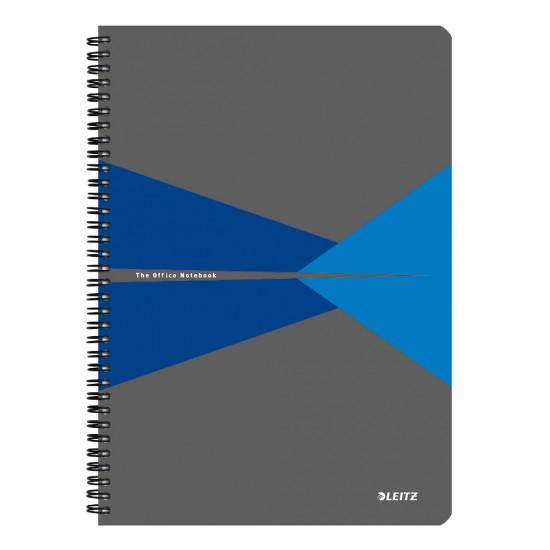 Caiet de birou Leitz Office, PP, A4, cu spira, matematica, albastru